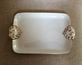 Irice Porcelain Dresser Tray with Gold Trim