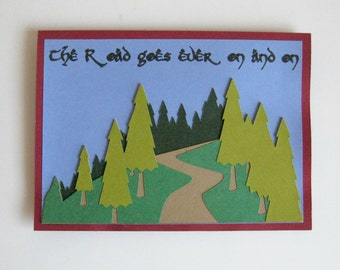 Lord of the Rings Greeting Card ~ Tolkien Quote Blank Card ~ The Hobbit Notecard ~ The Road Goes Ever On and On Card ~ JRR Tolkien Poem Card