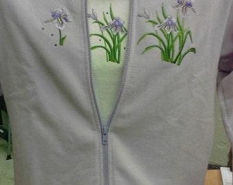 Lavender Ladies zippered fleece jacket with irises