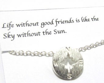Brushed Silver Compass Bracelet, B1, Friendship Bracelet, Dainty Best Friend Bracelet, Gift For Friend, Best Friend gift, Birthday Gift