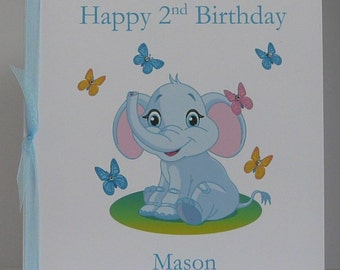 Childrens Birthday Card All Ages Available 8x8 inches Pink or Blue Large Personalised