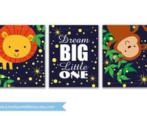 Jungle Animals Nursery Art Prints. Dream Big Little One. Children Bedroom Decor. 5x7, 8x10, 11x14, 13x19 Print. Select a Size. Item 083