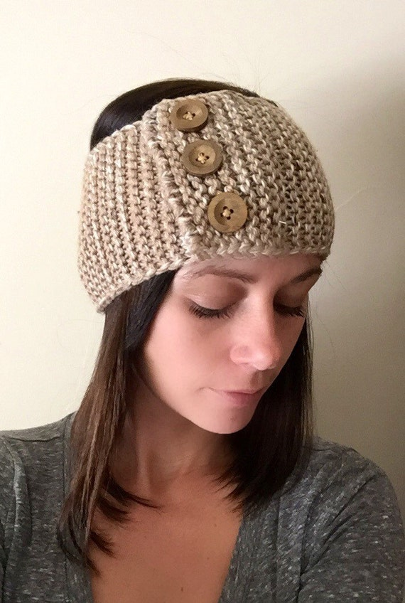 Knit Headband Pattern With Button : Items similar to Beige Button Ear Warmer Knit Headband Crochet Winter Hats Gi...