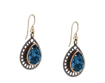 Blue Swarovski crystal earrings - Dangel earrings - Gray Teardrop earrings - Evening Dangle earrings - Gift for her - Handmade jewelry