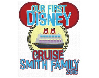 Our First Disney Cruise Door Magnet Art Iron On - Digital Download - You Print