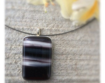 Fused glass pendant handmade, black and white fused glass necklace