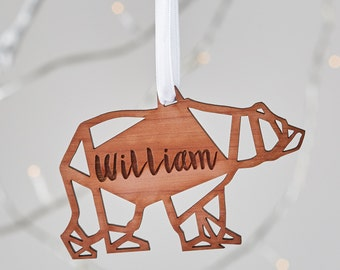 Geometric Polar Bear Wooden Christmas Ornament. Personalised Christmas decoration|cedar wood|aromatic|baby's first Christmas|scandi Nordic