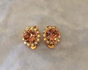 Clip-on Rose Gold Vintage Rose Swarovski Crystal Earrings, bridal earrings, Bridesmid earrings, blush wedding, blush, bridesmaid gift