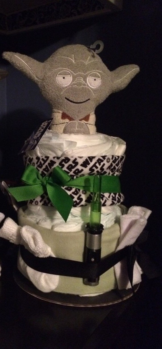 star wars yoda baby diaper cake ready made by phoebesbabycakes