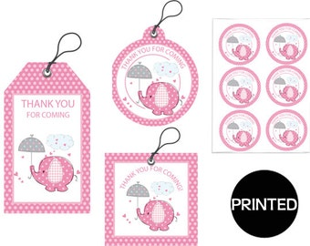 Printed PINK ELEPHANT  girl's Baby Shower , Gift Tags, Favor Tags,  Labels, Stickers, Party Supplies