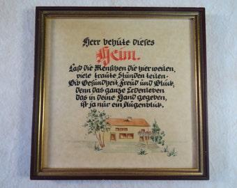 f755ab1250 German Poem Watercolor dated 1955 Nuremberg
