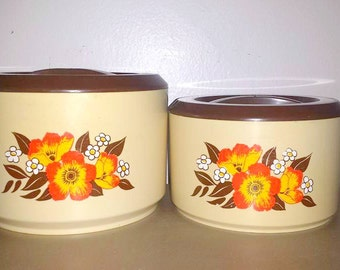 Vintage Sterlite Canister Set,2 Pc Set with Lids,Sterlite,Canisters,Tropical,Hawaiian Flowers,Kitschy,Retro Canister Set,Orange,Yellow,Brown