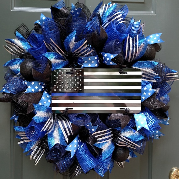 Thin Blue Line Wreath Police Wreath Front Door By