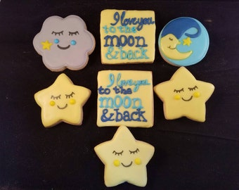 Stars and moon cookies
