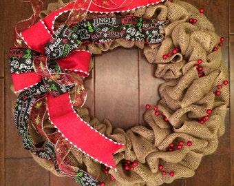 Burlap Christmas Wreath - Holiday Wreath - Burlap Wreath - Merry Christmas Door Decor