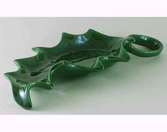 Ceramic Holly Leaf Candy Plate