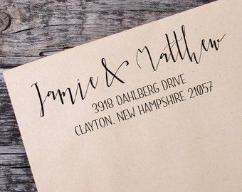 Return Address Self Inking Stamp, Wedding Return Address Self Inking Stamp, Custom Address Stamp - 108