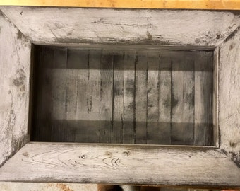 Distressed Reclaimed Shadow Box/white/stain/oil/rack/trinket/cubby/shelf