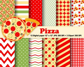 Pizza Digital Paper, Pizza Clipart, Tomato, Polka Dots, Chevron, Stripes, Red, Green, Yellow, Background, Pattern, Clipart, Commercial Use.