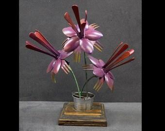 Handmade Painted Silverware Art Flowers in Metal Bucket with Wooden Base