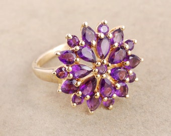 African amethyst ring - Flower ring - Prong setting ring - Designer ring - February birthstone - Gold plated ring - 925 sterling silver ring