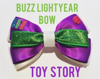 Buzz Lightyear - Toy Story - Disney Inspired Clip in Hair Bow or Bow Tie - Size Medium