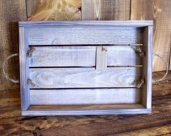 White Washed Handmade Tray/Shelf --- Flintface Woodshop