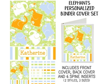 Printable Binder Cover Set - Elephants - Front & Back Covers and Spine inserts - Dress up Your Three Ring Binder!