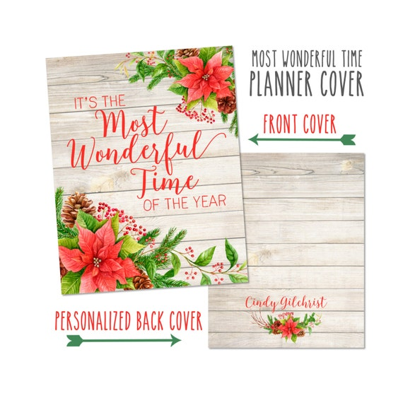 Personalized Planner Cover ~ It's the Most Wonderful Time of the Year ~ Christmas - Many Planner Sizes Available!