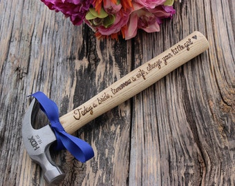 Engraved Hammer - Hammer - Wedding Party Gift -  Groomsmen Gift - 5th Anniversary - Father of the Bride Gift - Personalized Hammer