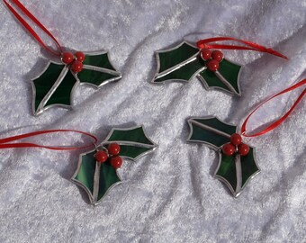 Three, stunning stained glass holly Christmas decoration