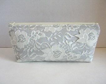 Satin And Lace Clutch - Bridesmaid Makeup Bag - Wedding Clutch - Silver Clutch - Bridesmaid Clutch - Bridal Clutch - Bridesmaid Gift
