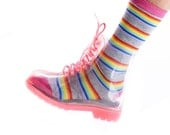 Rubber Clear Transparent Ankle High Lace Up Rain Boots, Clear Boots, Jelly Shoes