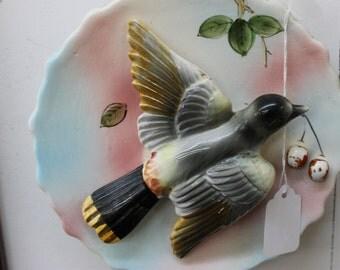 Vintage Ceramic Bird Wall Vase