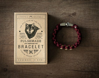 Men's bracelet-Women's Grape marc///Unisex mustard in Paracord 550-Handmade Pulsemade paracord Mens/Womens Burgundy///Goldenrod