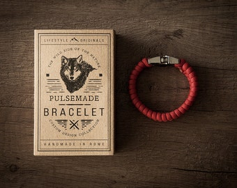 Unisex bracelet in Paracord 550-Pulsemade Style collection-Handmade paracord bracelet Red Mens/Womens