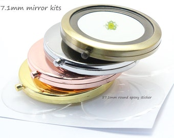 10 compact mirror kits-57mm pocket mirror-Blank compact mirror frame-two sided blank compact-Mirror with Epoxy Sticker-Bridsmaid Gift Supply