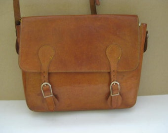 Vintage French brown leather messenger bag, briefcase.