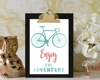 Enjoy the Adventure Print // Adventure Nursery // Adventure Nursery Decor // Bicycle Nursery // Digital Print // Aqua, Coral, Custom Colors