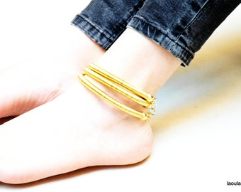 Tribal African Anklet, Gold or Silver wire, 3 rings, Statement piece