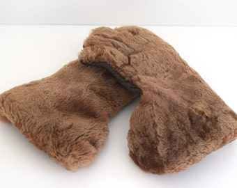 Vintage 1950s Dents Caramel Beige Sheepskin Cashmere Lined Winter Gauntlet Style Gloves