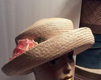 20% OFF SALE Vintage Wide Upturn Brim Natural Straw Hat with Rose/Toucan