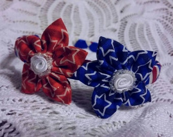 Girls' Patriotic Headband Kanzashi 2 Flower Woven 4th of July red white blue American
