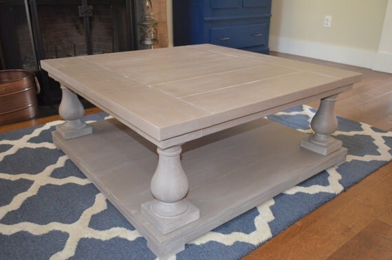 Square Balustrade Leg Coffee Table With Custom Distressed