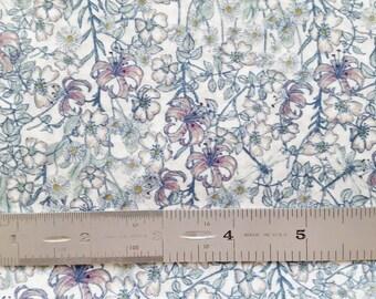 "Liberty London Mrs Monroe B 10""x26"" Fat Eighth Blue Tana Lawn Fabric"