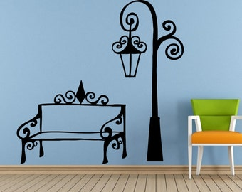 City Town Street Park Lamp Post Bench Old Antique Vintage Window Or Wall Or Car Vinyl Peal And Stick Removable Sticker Decal L1470
