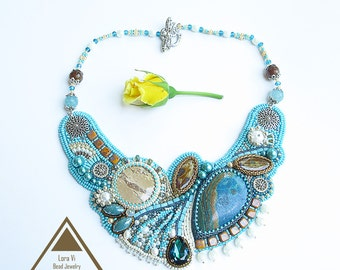 Bead embroidery necklace turquoise asymmetrical necklace OOAK beadwork designer jewellery blue butterfly unique art jewelry seascape wave