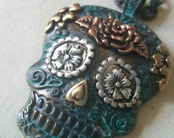 Multi Color Sugar Skull Day of the Dead long Charm Necklace, skulls, long necklace, sugar skull charm