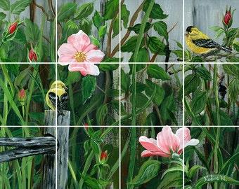 Two Birds Tile Mural Painting Back Splash Kitchen Home Decor Art