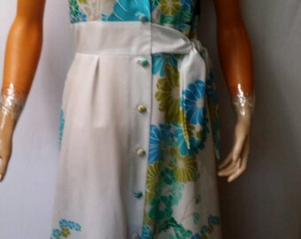 Vintage 1970s Malihini Hawaii Brand for Liberty House Backless Halter Strap Dress Size 14